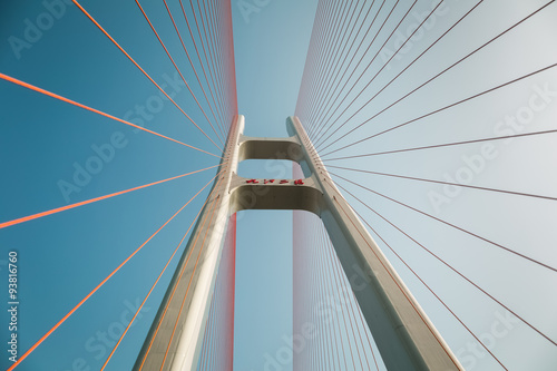 Spoed Foto op Canvas Brug cable stayed bridge closeup