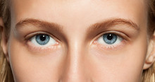 Closeup Of Blue Eyes Girl With...