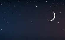 Night Sky With A Crescent Moon...