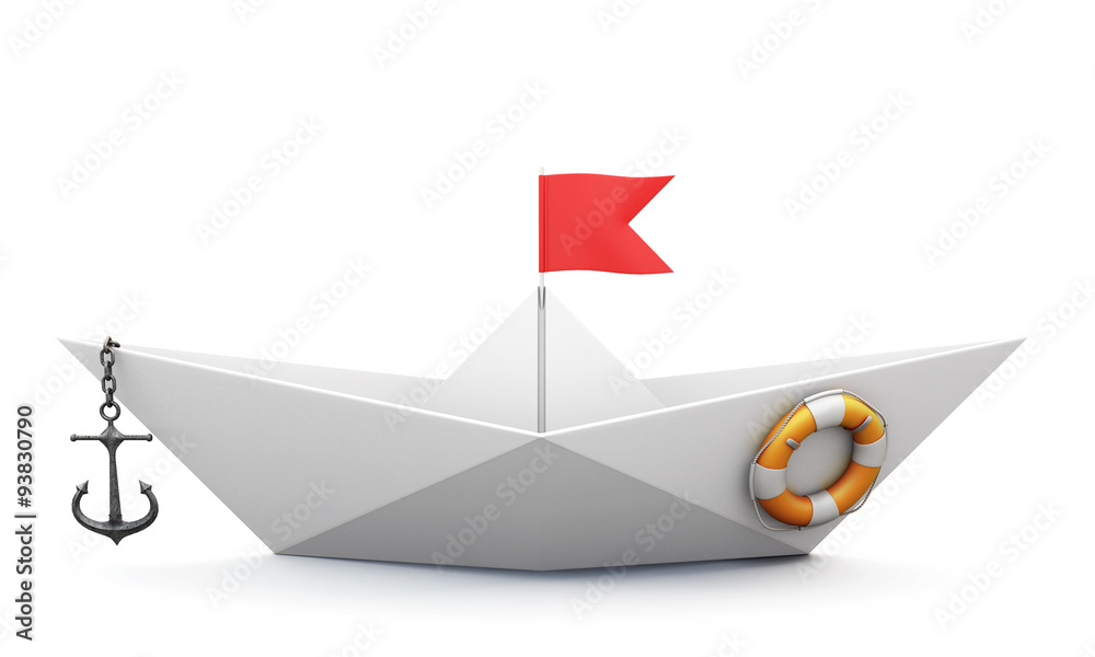 Fototapeta Origami boat out of paper with an anchor and a lifeline