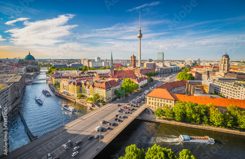 Berlin skyline panorama with Spree river at sunset, Germany Wallpaper Mural