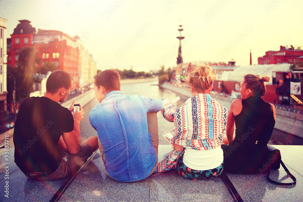 Fototapeta youth group vacation travel city