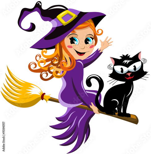 fototapeta na ścianę Young witch and black cat flying on a broom isolated