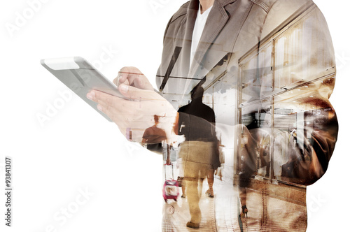 Fotografie, Obraz  Double exposure of Business Man and Airport Terminal with People