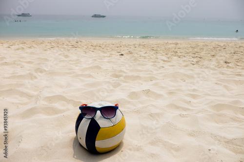a Volleyball at the Summer Beach with a Sunglass Wallpaper Mural