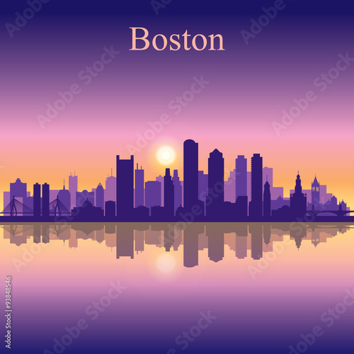 Spoed Foto op Canvas Dubai Boston city skyline silhouette background