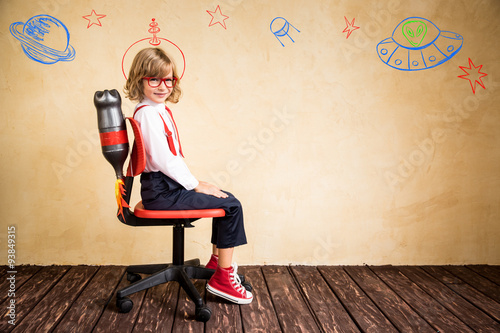 Fotografie, Tablou  Young businessman with jetpack