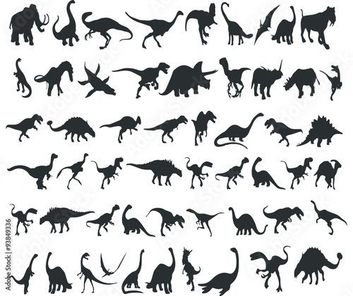 Photo  Silhouettes of dinosaurs. Set