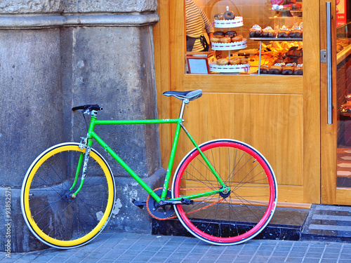 Poster Fiets Colorful bike in the street