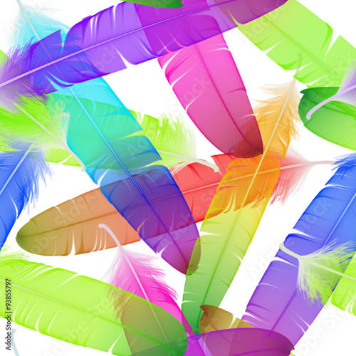Colorful seamless feather vector pattern