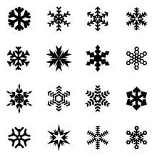 Vector Black Snowflake Icon Set