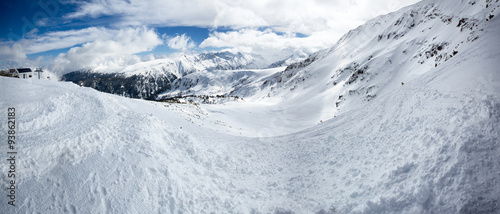 Panorama of snowy mountains #93862183