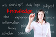 Young business woman writing knowledge concept. Blue background.