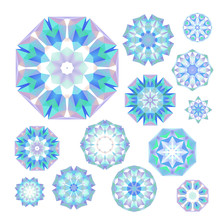 Set Of Blue Polygonal Snowflakes On White, In Vector