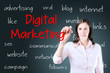 Business woman writing digital marketing concept. Blue background.