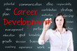 Young business woman writing career development concept