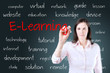 Young business woman writing e-learning concept