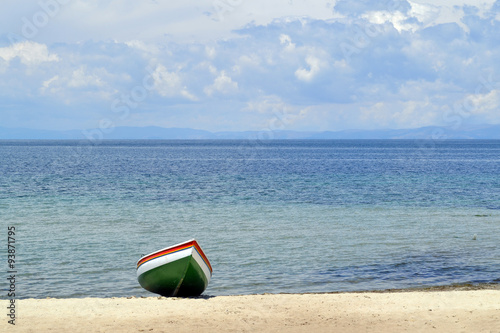 Uppdragen båt på strand, Isla del Sol Canvas Print
