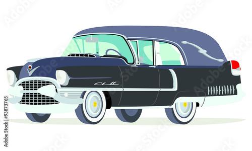 Fotografie, Obraz  Caricatura Cadillac fúnebre 1955 negra vista frontal y lateral