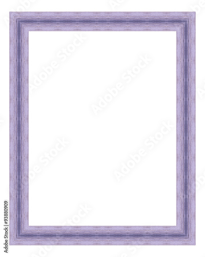 Purple wooden frame isolated on white background. Contemporary ...