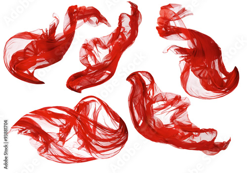 Poster Tissu Fabric Flowing Cloth Wave, Red Waving Silk Flying Textile White
