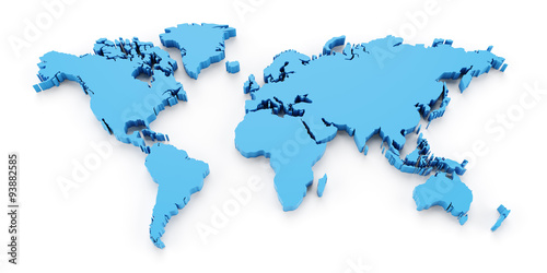 Detail world map, 3d render