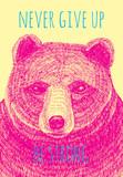 Nigdy nie rezygnuj z silnego hasła. Niedźwiedź wyciągnąć rękę ilustracja - 93890523