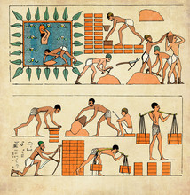 Ancient Egypt War Prisoners Making Bricks And Building Walls, Vintage Collage