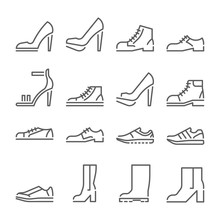 Shoes Icons, Line Style, Flat Design