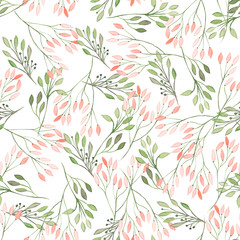 FototapetaSeamless pattern with watercolor flowers, leaves and branches on a white background, wedding decoration