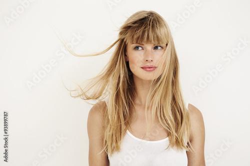 Fotografie, Obraz  young woman in white studio