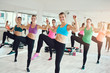 Leinwanddruck Bild - Fit young women enjoying an aerobics workout