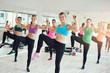 Fit young women enjoying an aerobics workout