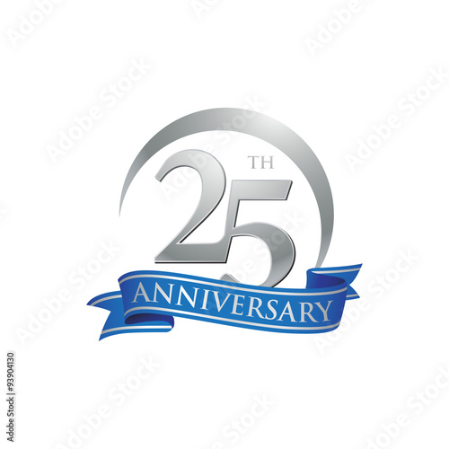 Fotografiet 25th anniversary ring logo blue ribbon