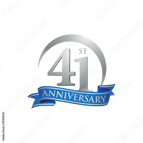 Tela 41st anniversary ring logo blue ribbon