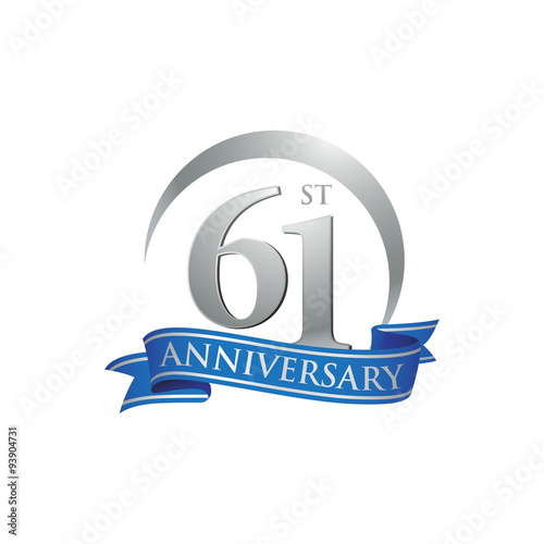 Fotografia  61st anniversary ring logo blue ribbon