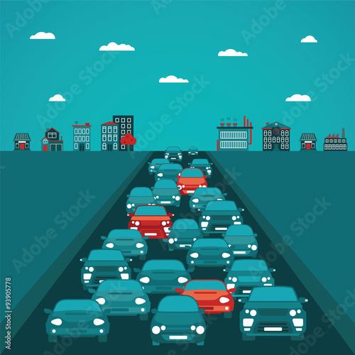 Urban traffic vector concept in flat style Fototapeta
