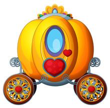 Carton Fairy Tale Element - Golden Pumpkin Carriage - Illustration For The Children