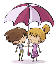 Niños Con Paraguas