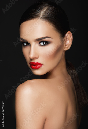 Beautiful woman portrait, beauty on dark background Poster