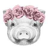 Portrait of Piggy with floral head wreath. Hand drawn illustration. - 93920335