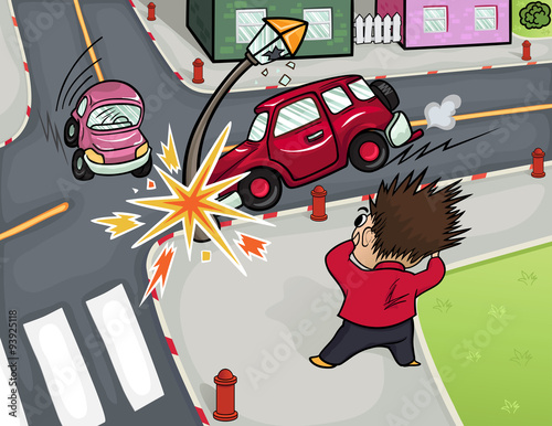 Keuken foto achterwand Cars Illustration of a car accident at the crossroads. Crash and frightened man at the crossroads.