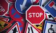 canvas print picture - Panneaux de signalisation vue de face, code de la route.