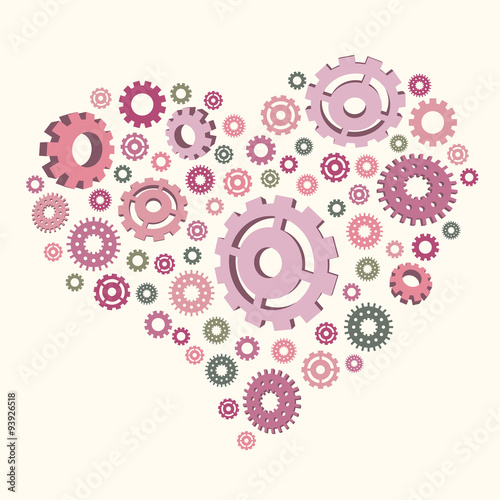 vector illustration of the heart of the gears template for