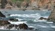 Beautiful waves on Pacific Ocean rocky coastal beach HD 5997