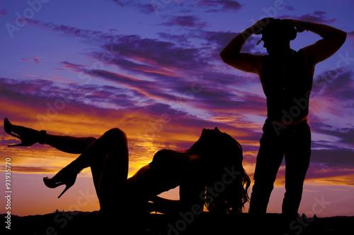Printed kitchen splashbacks Panther silhouette woman in bikini lay back heels out cowboy