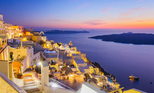 Santorini At Night With Twilight Sky Above Mediterranean Sea, Greece