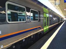 Railway Station By Train. Italian Railway Station By Train. Brignole (GE), Italy