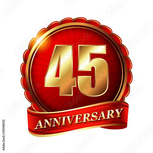 Plakat 45 years anniversary golden label with ribbon.