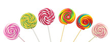 Colorful Spiral Lollipops On W...